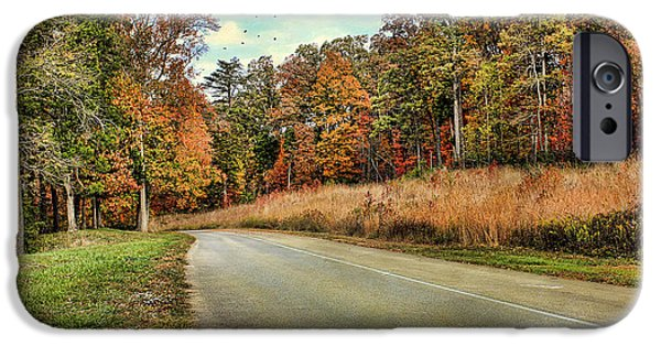 Asphalt iPhone Cases - Autumn Road iPhone Case by Darren Fisher