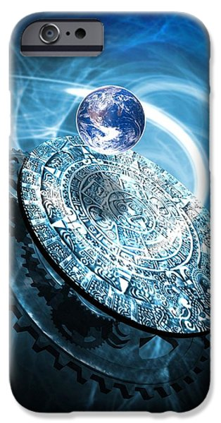 Stone Carving iPhone Cases - Aztec Sun Stone, Artwork iPhone Case by Victor Habbick Visions