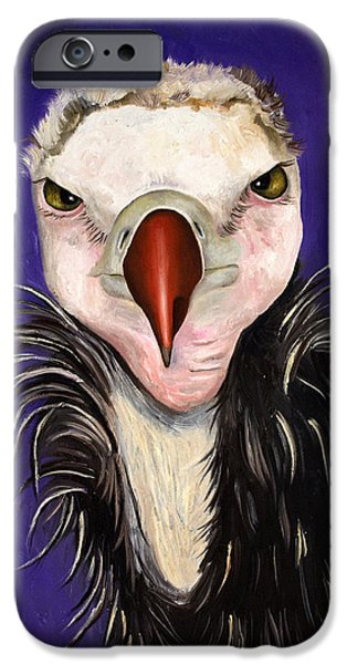 Baby Bird Paintings iPhone Cases - Baby Vulture iPhone Case by Leah Saulnier The Painting Maniac