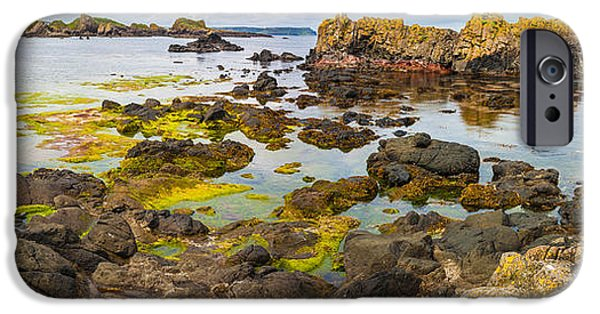 Alga iPhone Cases - Ballintoy Bay Basalt Rock iPhone Case by Semmick Photo
