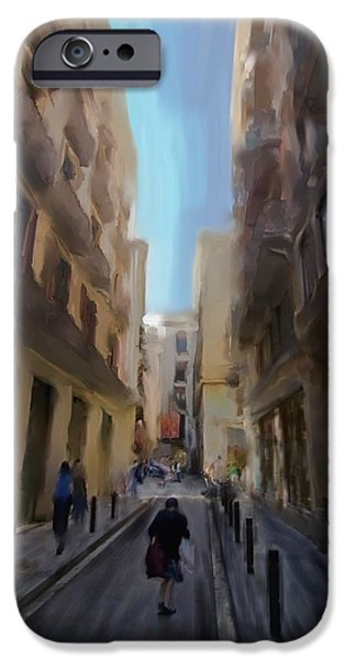 Barcelona street scene iPhone Case by Sven Brogren