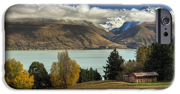 Mountains iPhone Cases - Barn Near Lake Pukaki And Ben Ohau iPhone Case by Colin Monteath