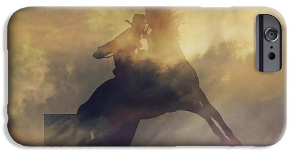 Roping Horse iPhone Cases - Barrel Racer iPhone Case by Stephanie Laird