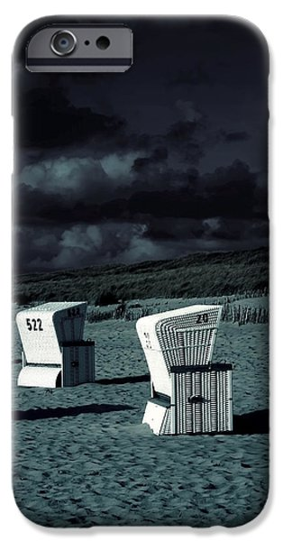 North Sea iPhone Cases - Beach Chairs iPhone Case by Joana Kruse
