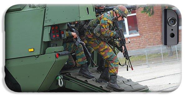Piranha iPhone Cases - Belgian Infantry Soldiers Exit iPhone Case by Luc De Jaeger