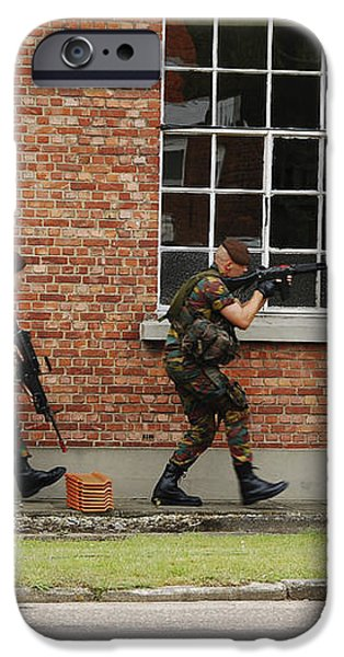 Belgian Soldiers On Patrol iPhone Case by Luc De Jaeger