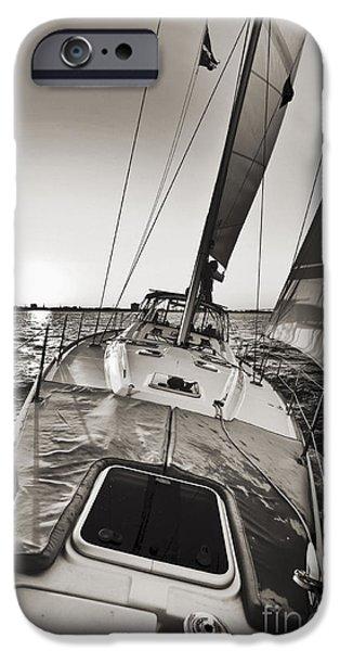 Sailing iPhone Cases - Beneteau 49 Sailing Yacht Close Hauled Charleston Sunset Sailboat iPhone Case by Dustin K Ryan