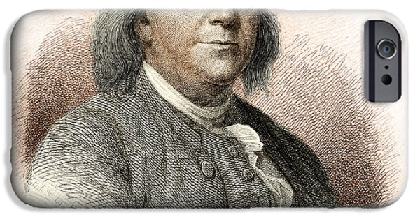 Franklin iPhone Cases - Benjamin Franklin iPhone Case by Nypl
