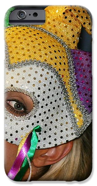 Blond Woman With Mask iPhone Case by Henrik Lehnerer