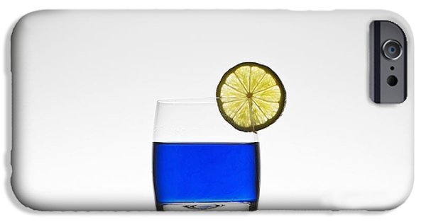 Glasses Photographs iPhone Cases - Blue Cocktail With Lemon iPhone Case by Joana Kruse