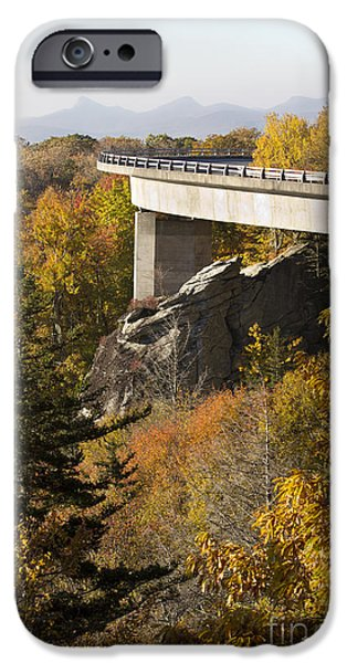 Blue Ridge Parkway iPhone Cases - Blue Ridge Parkway Linn Cove Viaduct Fall Colors iPhone Case by Dustin K Ryan