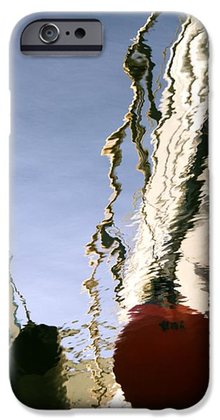 Banks iPhone Cases - Boat Reflections At Sea iPhone Case by Stylianos Kleanthous
