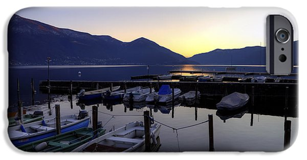Ascona iPhone Cases - Boats In The Sunset iPhone Case by Joana Kruse