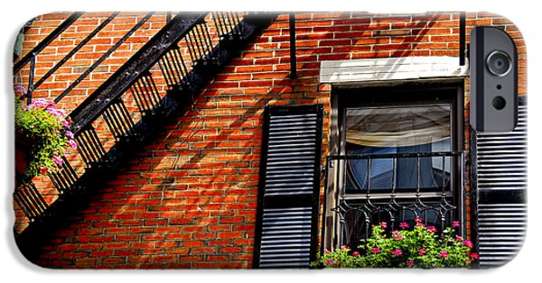 Balcony iPhone Cases - Boston house fragment iPhone Case by Elena Elisseeva