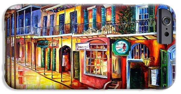 French Quarter Paintings iPhone Cases - Bourbon Street Red iPhone Case by Diane Millsap