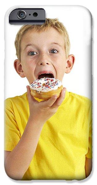 Doughnuts iPhone Cases - Boy Eating A Doughnut iPhone Case by Ian Boddy