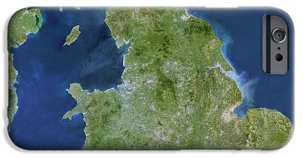 North Sea iPhone Cases - British Isles, Satellite Image iPhone Case by Planetobserver
