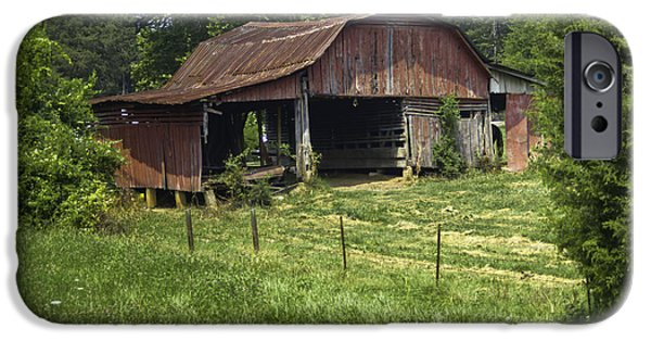 Tennessee Hay Bales iPhone Cases - Broad Roofed Barn iPhone Case by Douglas Barnett