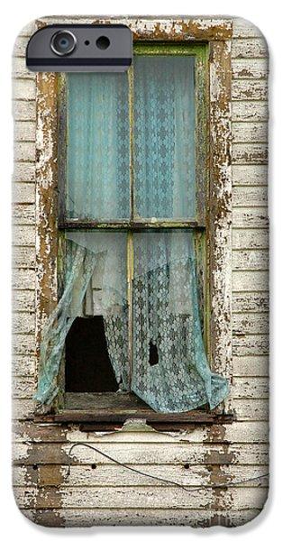 Broken Window in Abandoned House iPhone Case by Jill Battaglia