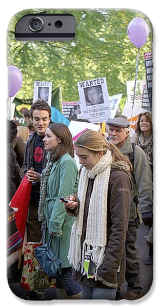 Campaign Against Climate Change March iPhone Case by Victor De Schwanberg