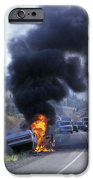 Car In Flames iPhone Case by Kaj R. Svensson