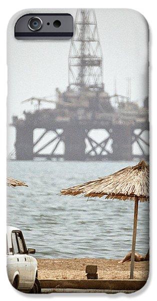 Caspian Sea Oil Rig iPhone Case by Ria Novosti