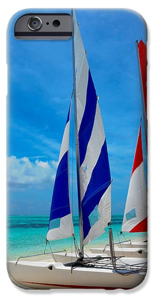 Pleasure iPhone Cases - Catamarans on the Beach  iPhone Case by Jenny Rainbow