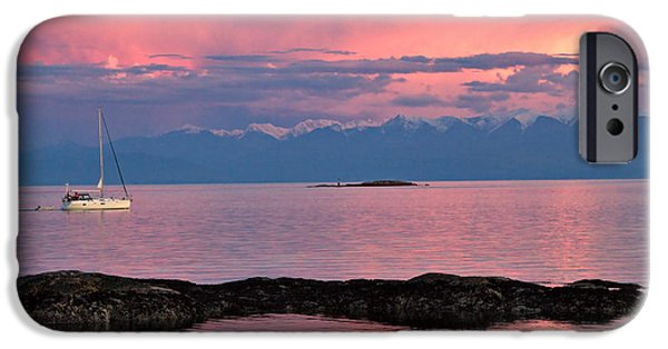 Chatham iPhone Cases - Cattle Point and the Strait of Juan de Fuca iPhone Case by Louise Heusinkveld