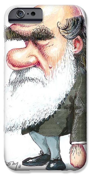 Charles Darwin, Caricature iPhone Case by Gary Brown