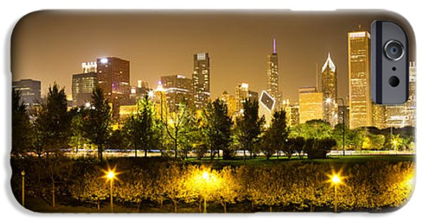 Willis Tower iPhone Cases - Chicago Panorama at Night iPhone Case by Paul Velgos