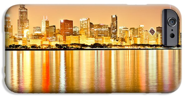 Congress iPhone Cases - Chicago Skyline at Night Photo iPhone Case by Paul Velgos