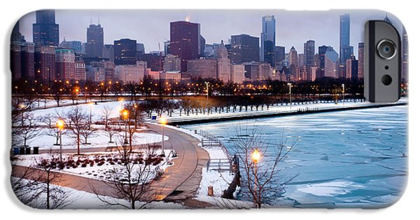 Willis Tower iPhone Cases - Chicago Skyline in Winter iPhone Case by Paul Velgos