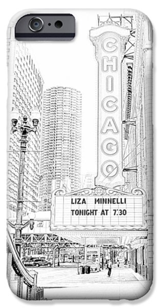 Ely Arsha iPhone Cases - Chicago Theater Marquee iPhone Case by Ely Arsha