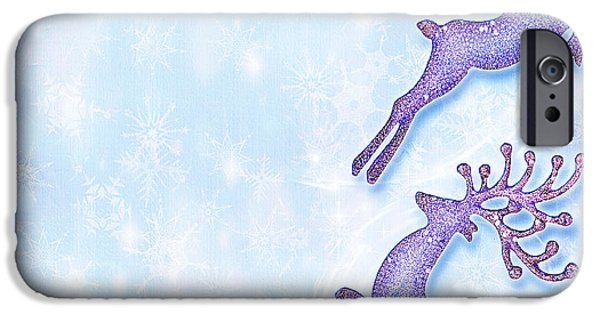 Wintertime iPhone Cases - Christmas holiday card festive background reindeer decorative  iPhone Case by Anna Omelchenko