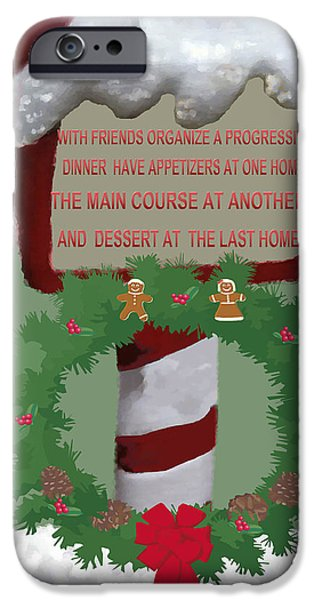 Christmas Greeting iPhone Cases - Christmas Traditions Cards iPhone Case by Debra     Vatalaro
