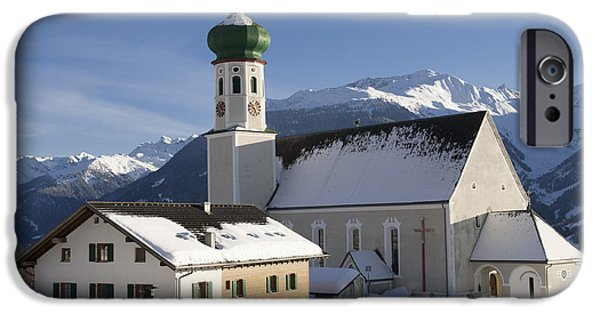 Town iPhone Cases - Church in winter iPhone Case by Matthias Hauser