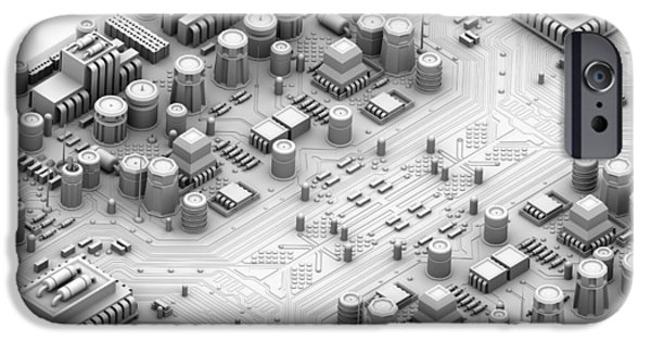 Electronic iPhone Cases - Circuit Board, Artwork iPhone Case by Pasieka