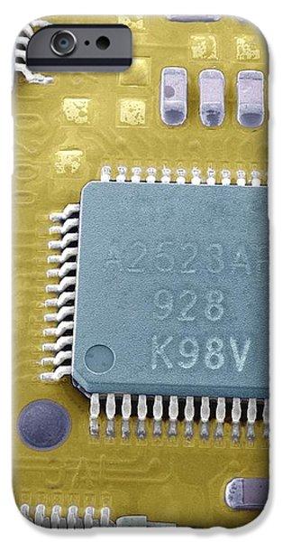 Circuit Board Microchip, Sem iPhone Case by Steve Gschmeissner