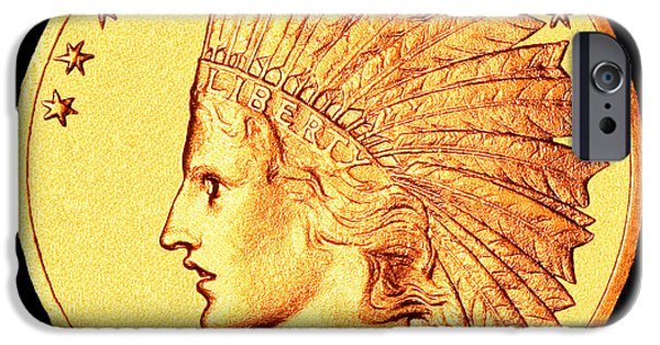 Coin iPhone Cases - Classic Indian Head Gold iPhone Case by Jim Carrell