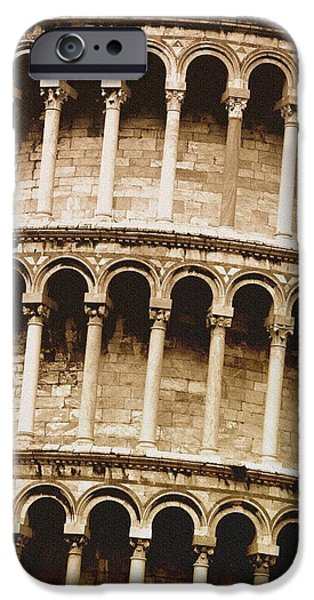 Tallest Columns World iPhone Cases - Closeup Of The Leaning Tower Of Pisa iPhone Case by Carson Ganci