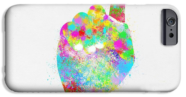 Concept Digital Art iPhone Cases - Colorful Painting Of Hand Pointing Finger iPhone Case by Setsiri Silapasuwanchai