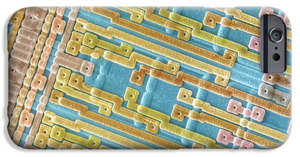 Chip iPhone Cases - Coloured Sem Of Surface Of An Eprom Silicon Chip iPhone Case by Power And Syred