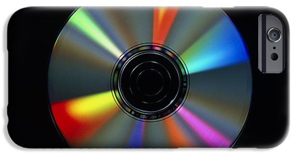 Disc iPhone Cases - Compact Disc With Light Interference Patterns iPhone Case by Damien Lovegrove