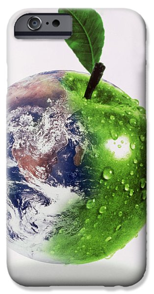 Gaia iPhone Cases - Computer Artwork Of Half Earth And Half Apple iPhone Case by Victor Habbick Visions