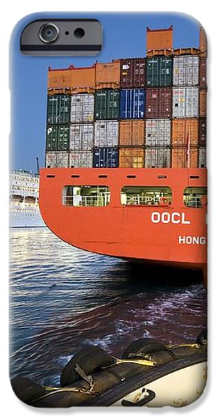 Container Ship iPhone Case by Paul Rapson