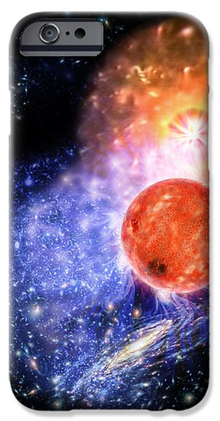 Cosmos Paintings iPhone Cases - Cosmic Evolution iPhone Case by Don Dixon