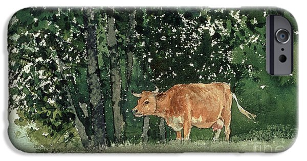 Cow iPhone Cases - Cow in Pasture iPhone Case by Winslow Homer