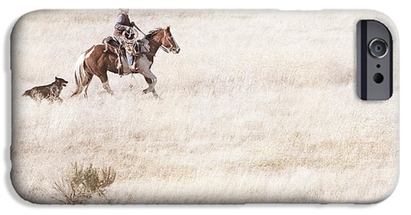 Daydreams Art Photographs iPhone Cases - Cowboy and Dog iPhone Case by Cindy Singleton