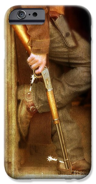 Cowboy Gear iPhone Cases - Cowboy with Guns  iPhone Case by Jill Battaglia