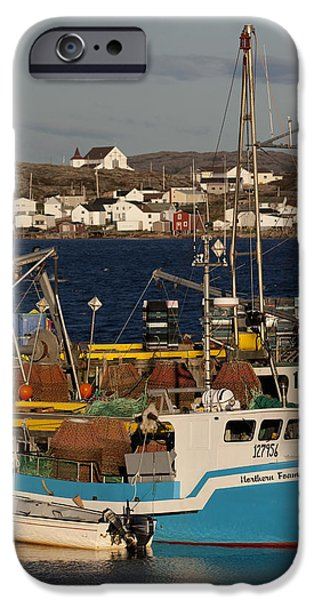 East Village iPhone Cases - Crab Fishing Boats, Joe Batts Arm, Fogo iPhone Case by John Sylvester